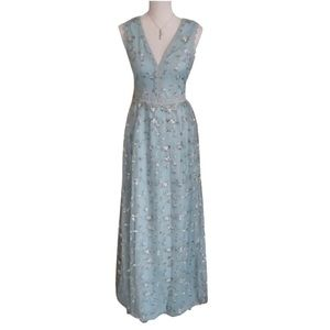 INA Light Blue Floral Embroidered Overlay Maxi